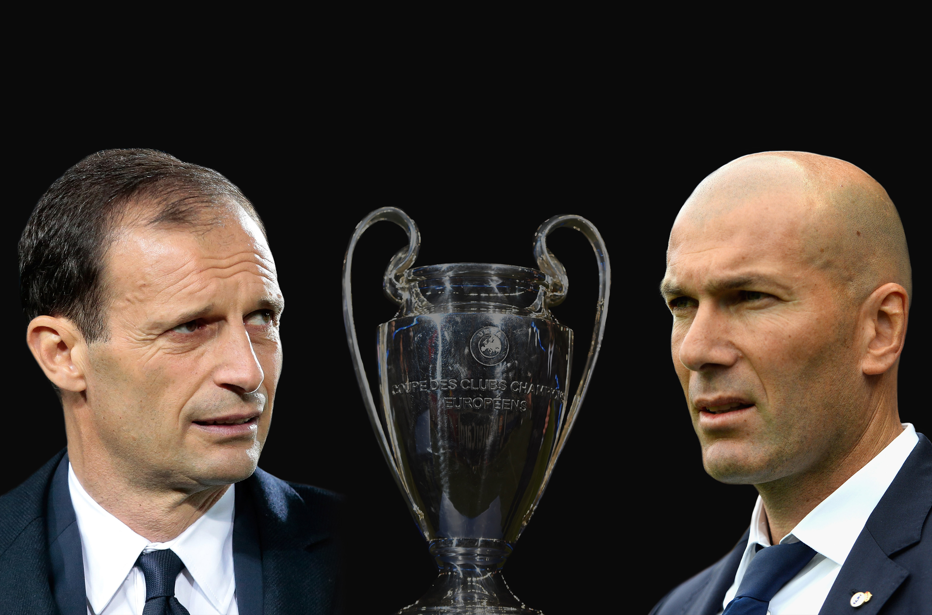 Juventus FC head coach Massimiliano Allegri and Zinedine Zidane, Head Coach of Real Madrid.(Emilio Andreoli & Aitor Alcalde/Getty Images)