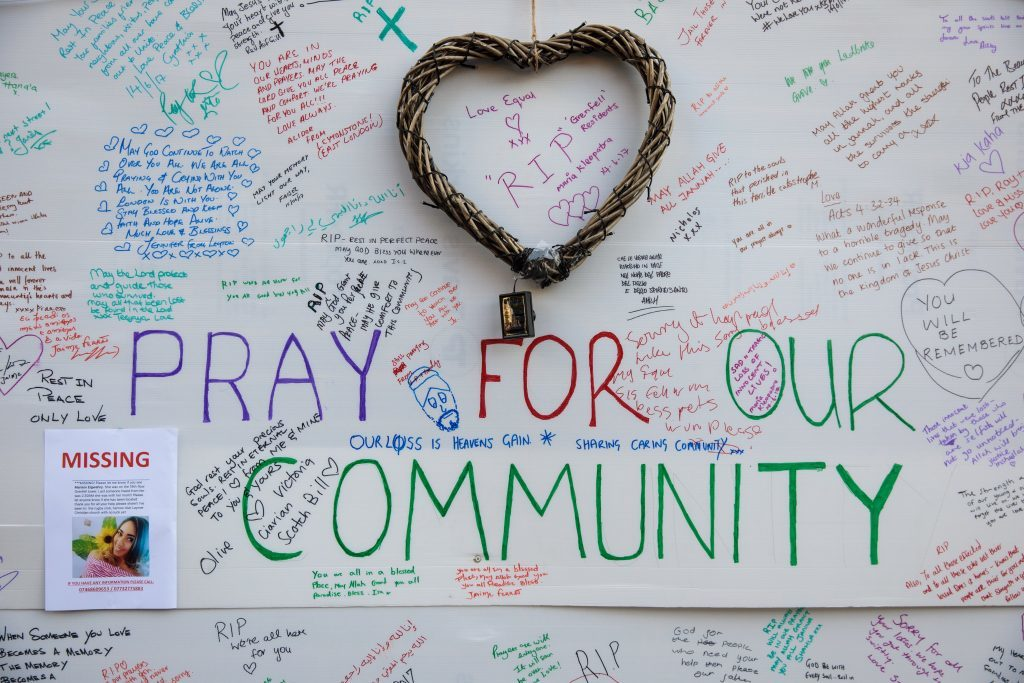 A wall of tributes and messages of condolences for the victims (Jack Taylor/Getty Images)
