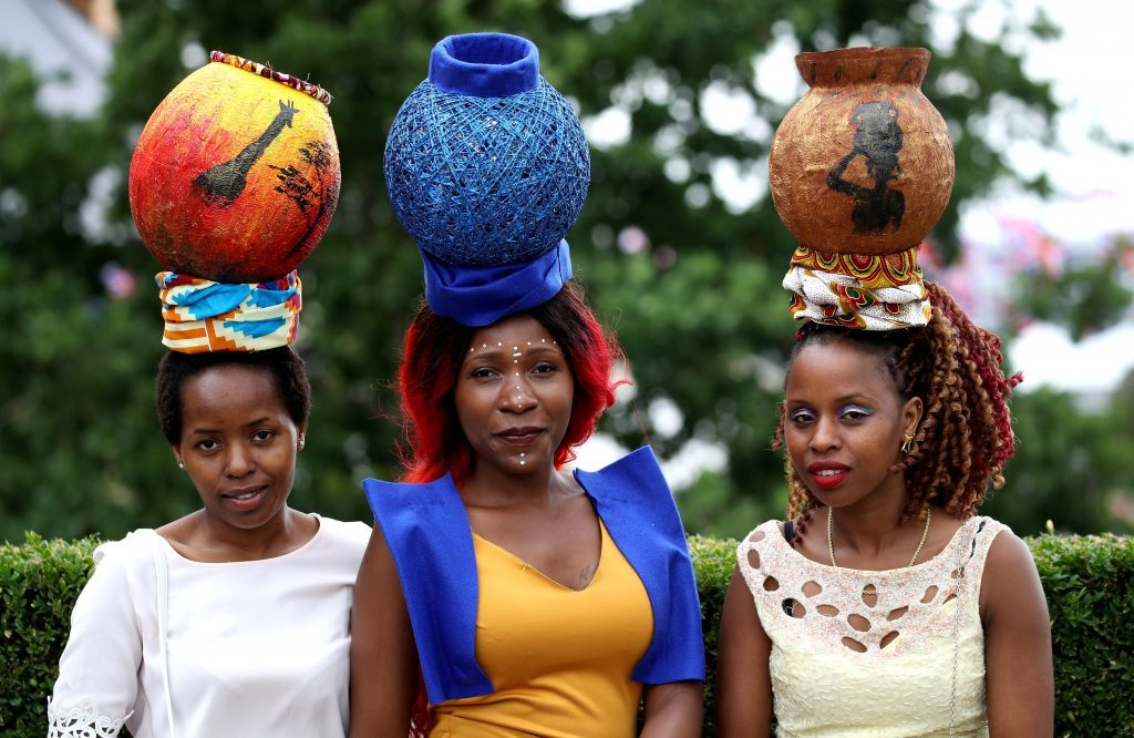 Racegoers dressed in traditional African clothing and headwear (Chris Jackson/Getty Images)