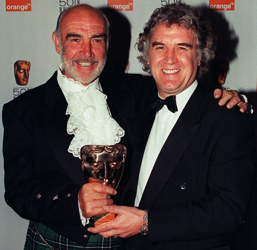Sean Connery (left) celebrating a special award for a 'Lifetime's Contribution to the British Cinema' with fellow Scot Billy Connolly, 1998 (Peter Jordan/PA Wire)