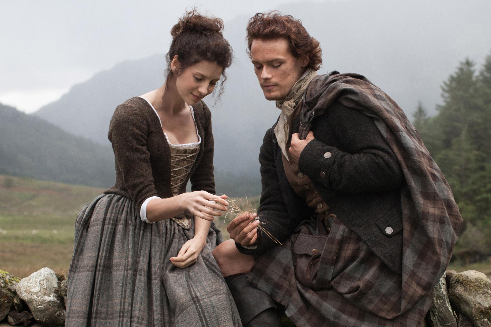 Outlander: Claire Randall (Caitriona Balfe) and Jamie Fraser (Sam Heugan) (Nick Briggs/Sony)