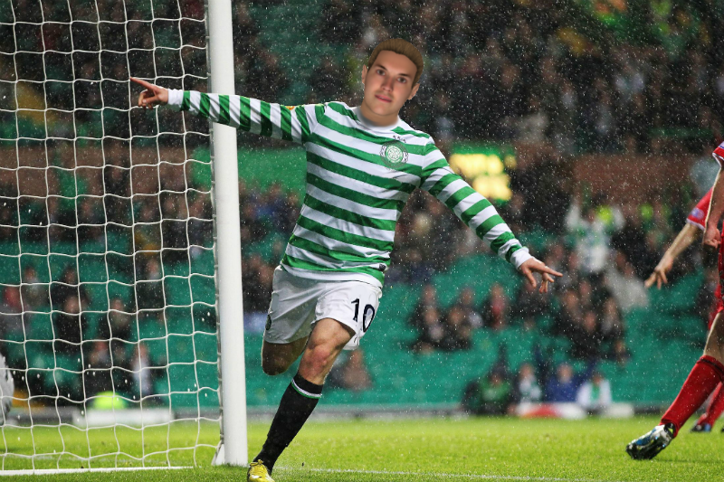 Strok celebrates one of his many Celtic goals (Jonny Sharples)