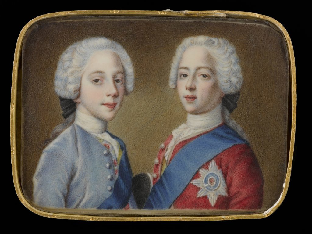 Rectangular miniature, watercolour on bone, of Princes Charles Edward and Henry Benedict Stuart