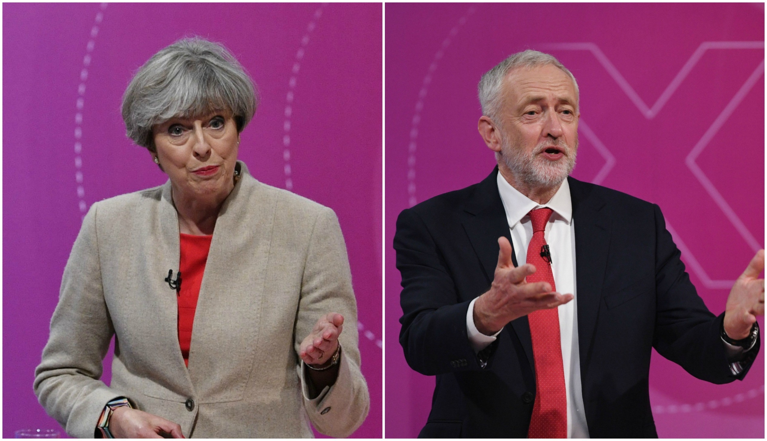 May and Corbyn at an election TV debate