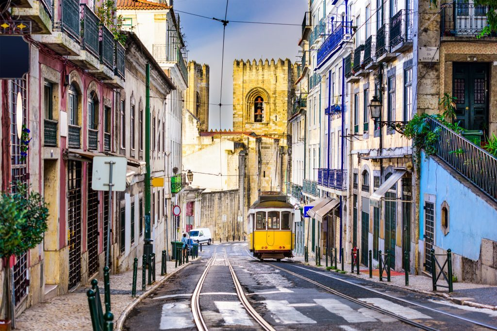 Tram near Lisbon Cathedral (iStock)