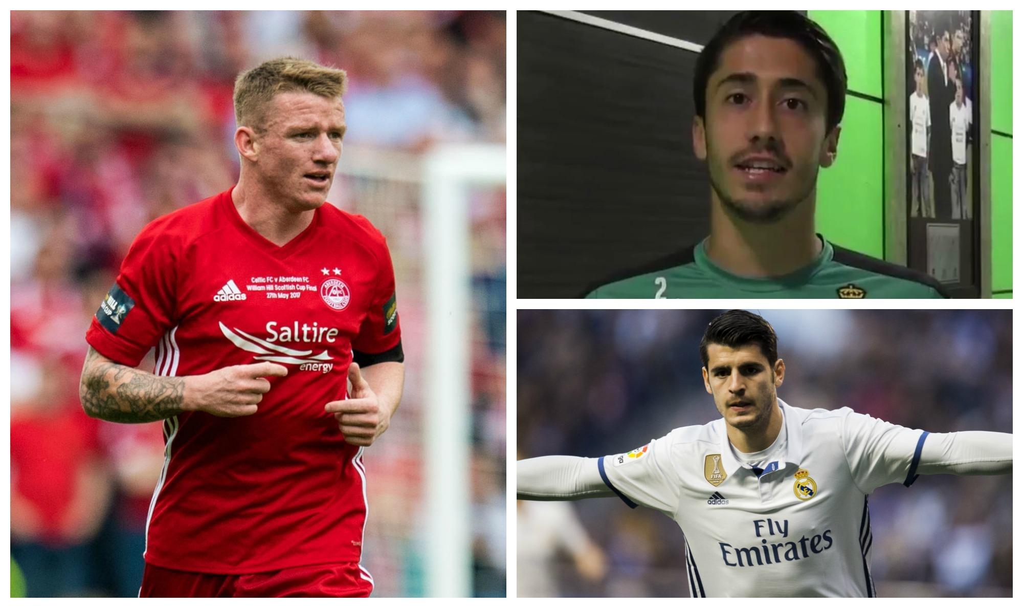 Aberdeen's Jonny Hayes (SNS Group), Javier Abella (Twitter) and Alvaro Morata (Juan Manuel Serrano Arce/Getty Images)