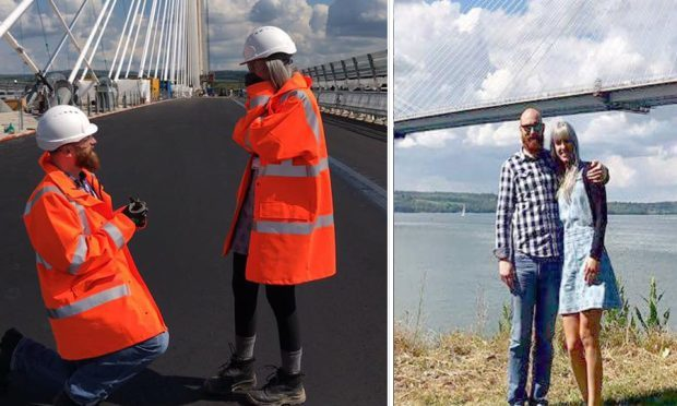 Mark McDonald and Carrie Taylor got engaged on the Queensferry Crossing (Facebook)
