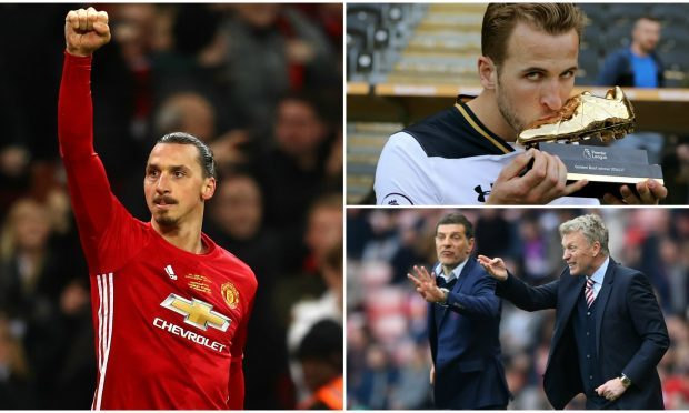 Man Utd's Zlatan Ibrahimovic, golden boot winner Harry Kane, Moyes and Bilic (Michael Steel / Nigel Roddis /Stu Forster/Getty Images)
