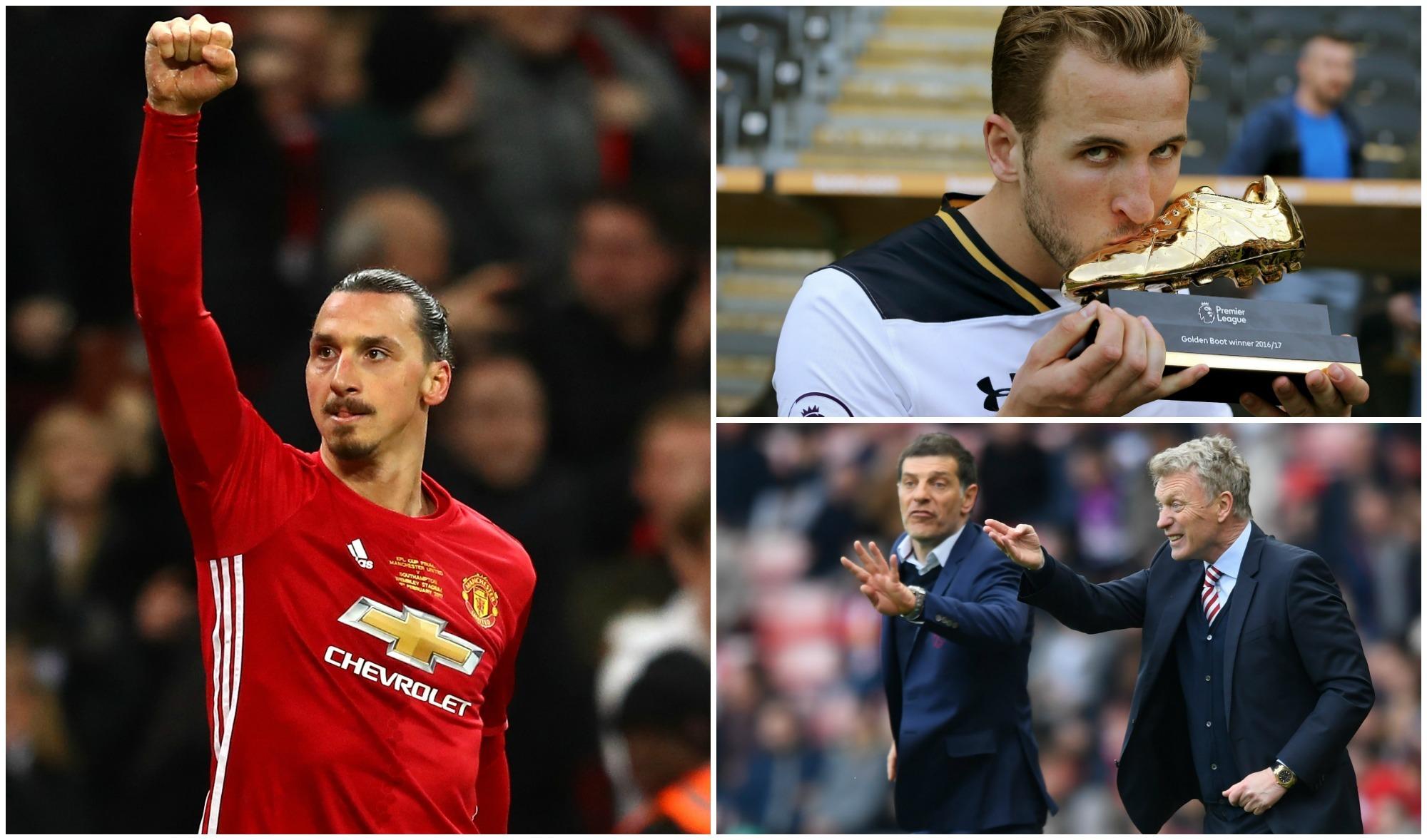 Man Utd's Zlatan Ibrahimovic, golden boot winner Harry Kane, Moyes and Bilic (Michael Steel / Nigel Roddis /Stu Forster/Getty Images)
