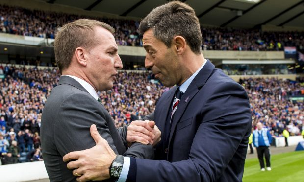 Celtic manager Brendan Rodgers (left) with Pedro Caixinha before the match (SNS)
