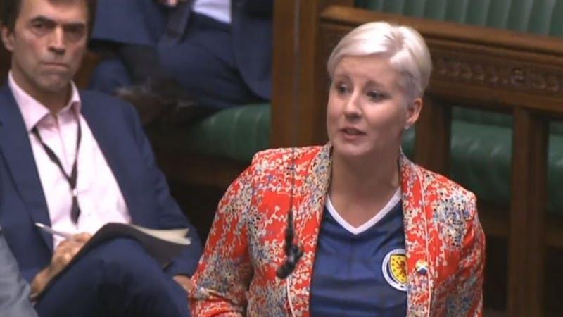 Hannah Bardell wears a Scotland shirt at PMQs