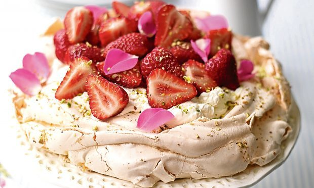 Strawberry, rose petal and pistachio pavlova (Pam Lloyd PR Sweet Eve Strawberries)
