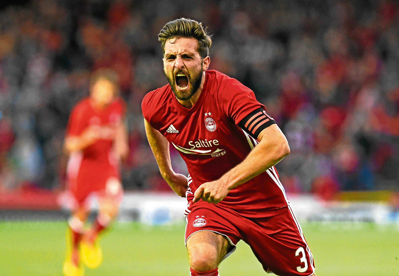 Aberdeen's Graeme Shinnie celebrates his goal against Apollon Limassol (SNS Group)