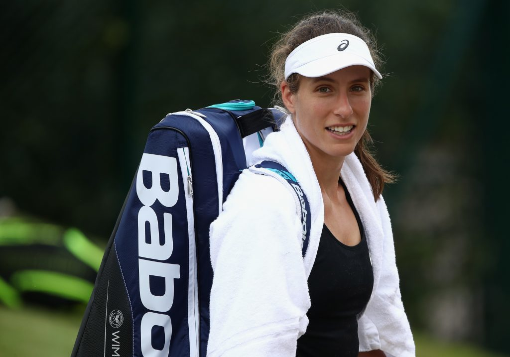 Johanna Konta of Great Britain looks on after her training session at Wimbledon on July 9, 2017 in London, England. (Julian Finney/Getty Images)
