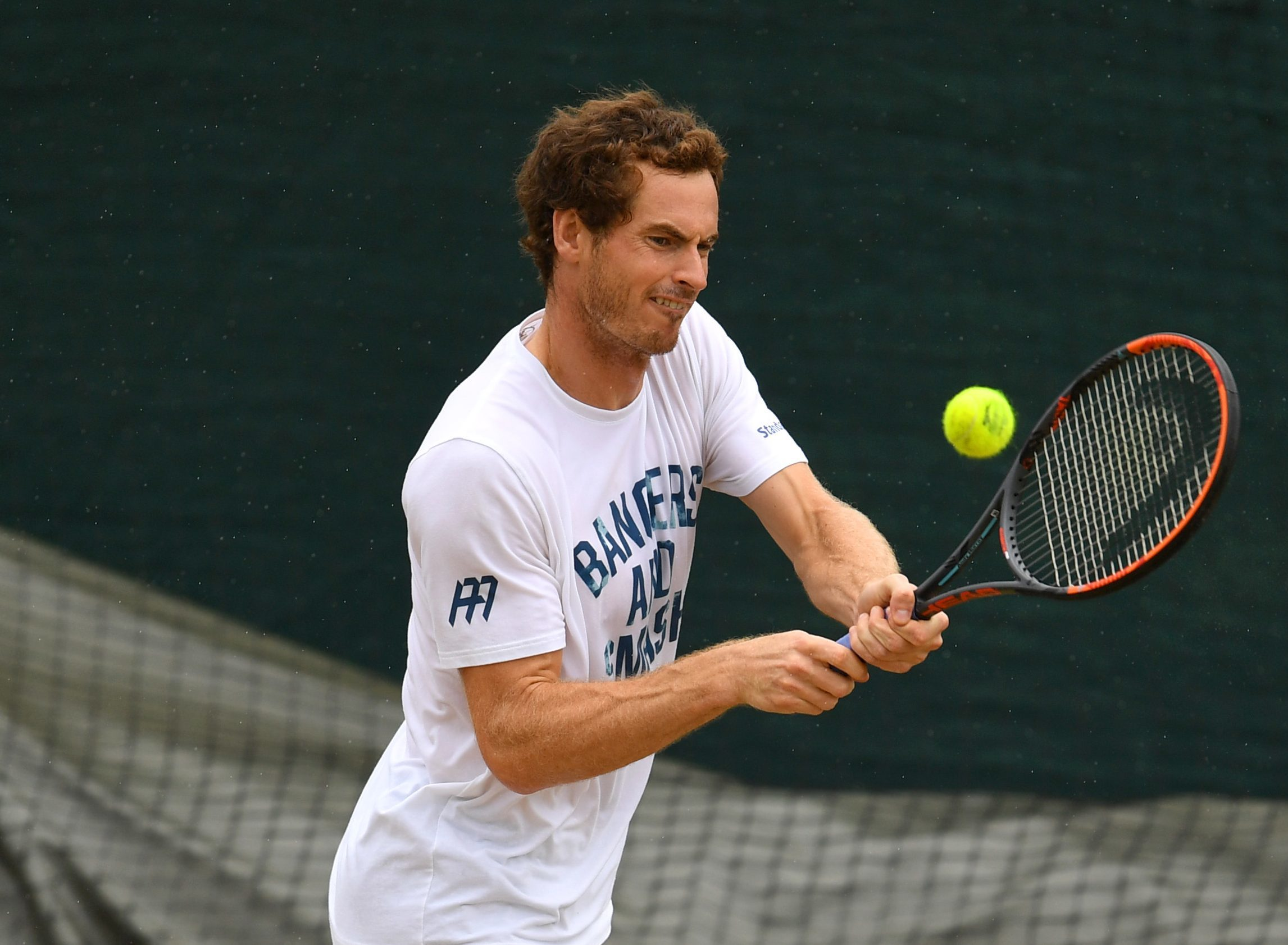 Andy Murray of Great Britain plays a backhand during a practice session on day eight of Wimbledon (David Ramos/Getty Images)