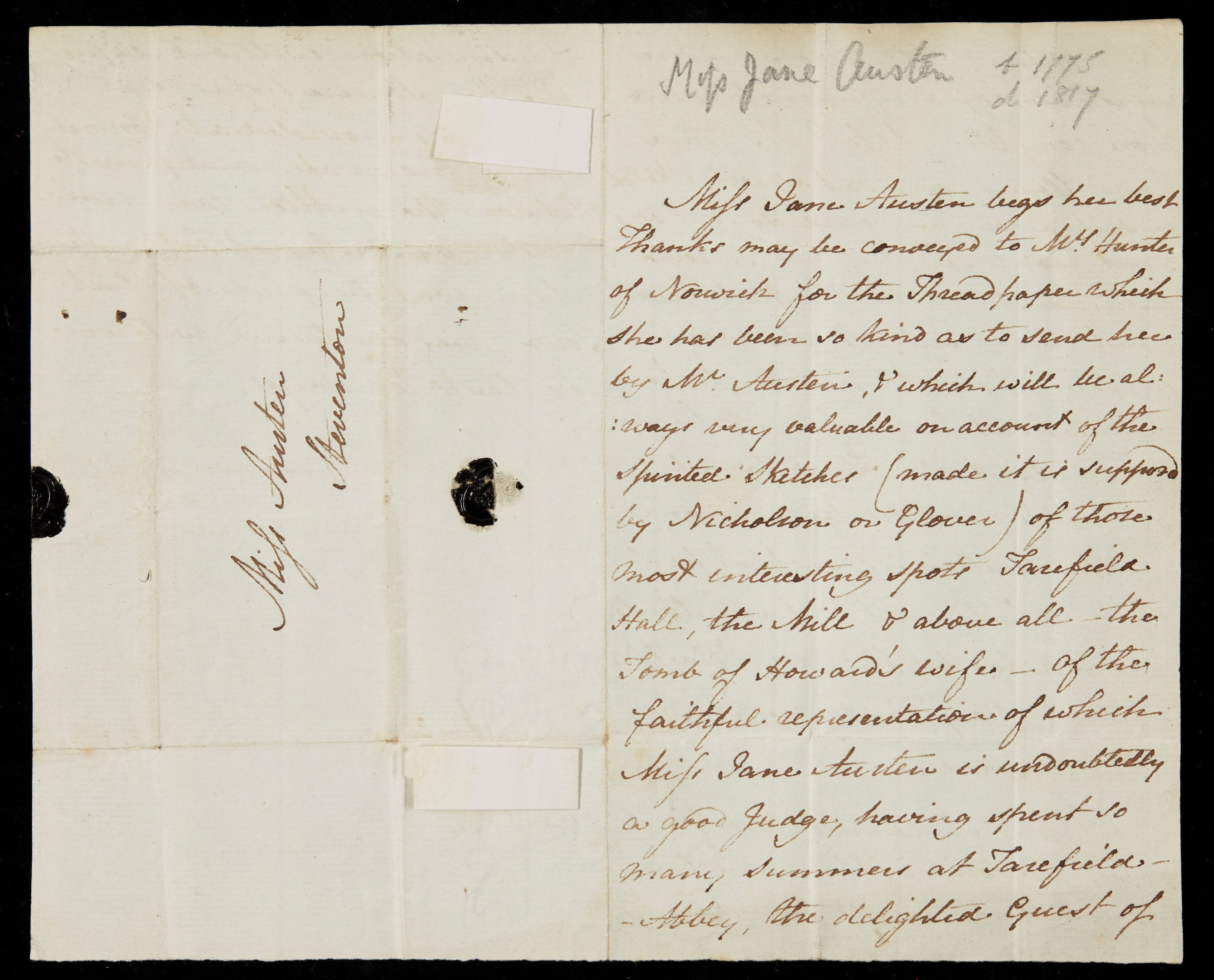 A letter written by author Jane Austen to her favourite niece in which she mocks a contemporary writer, which has sold at auction for more than £162,000. (Sotheby's/PA Wire)