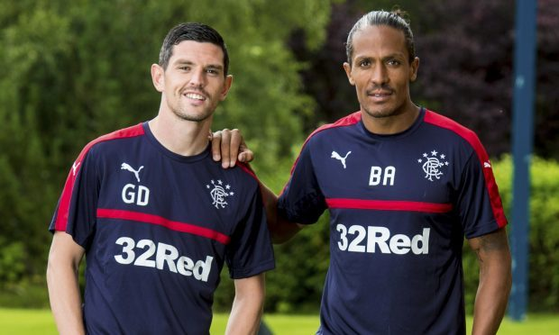 Bruno Alves with fellow new signing Graham Dorrans (SNS Group / Craig Williamson)
