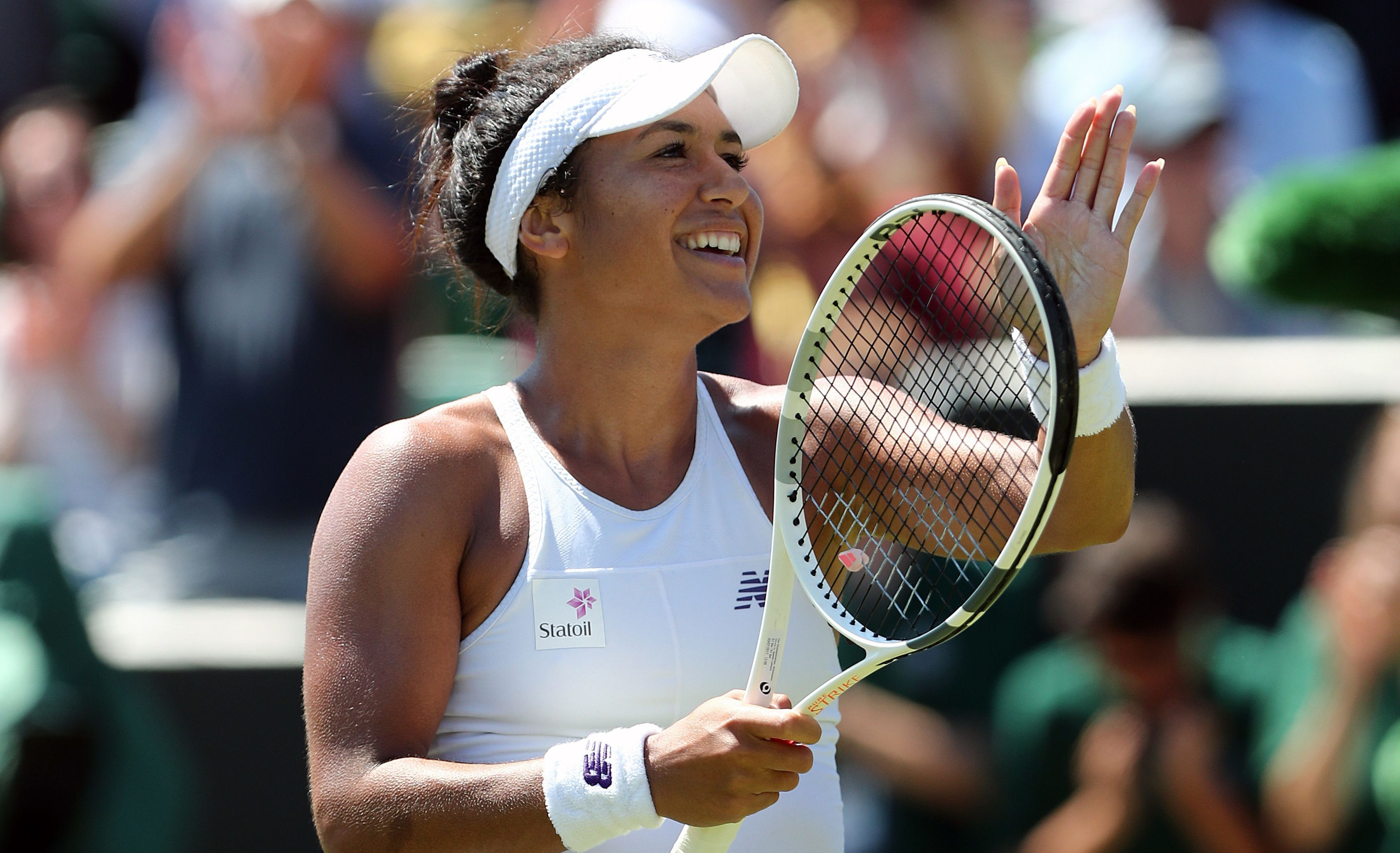 Heather Watson celebrates victory over Anastasija Sevastova (Gareth Fuller/PA Wire)