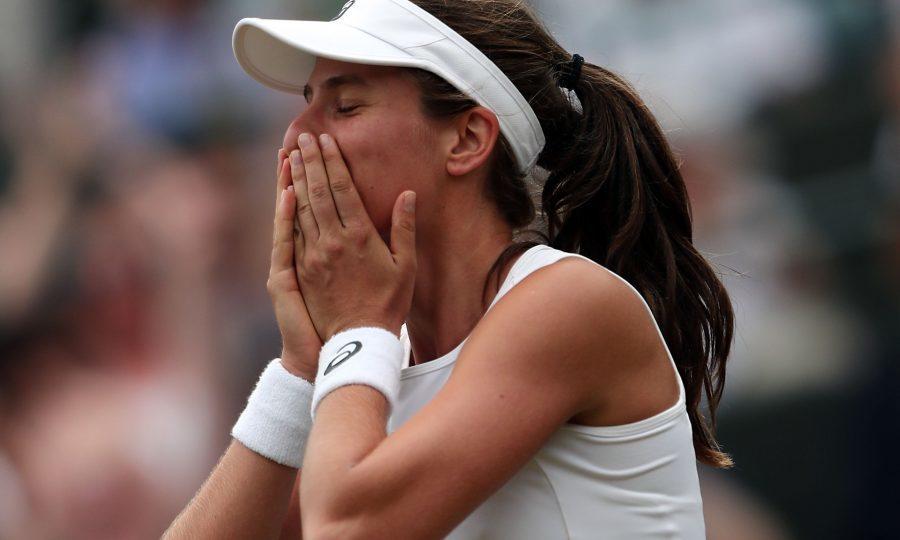 Johanna Konta celebrates victory over Caroline Garcia on day seven of Wimbledon (Gareth Fuller/PA Wire)
