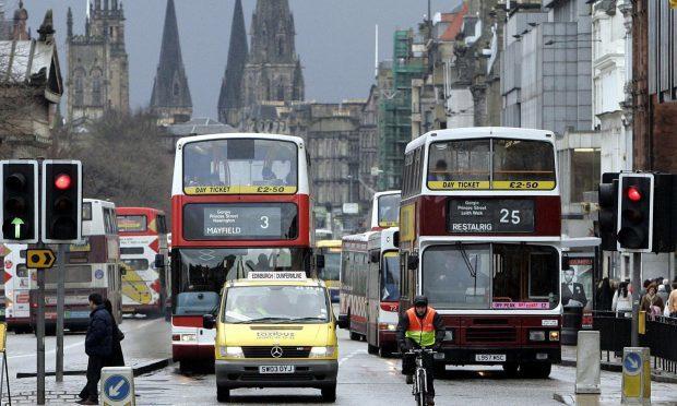 Traffic on Princes Street, Edinburgh (Andrew Milligan / PA)