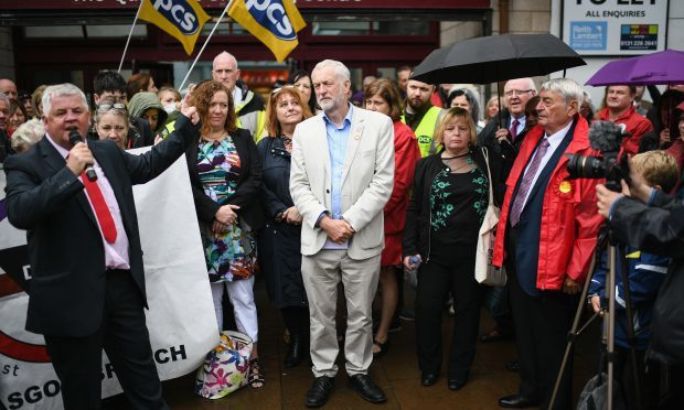 Labour leader Jeremy Corby addresses a public rally at the Quadrant shopping centre on August 25, 2017 in Coatbridge, Scotland (Jeff J Mitchell/Getty Images)