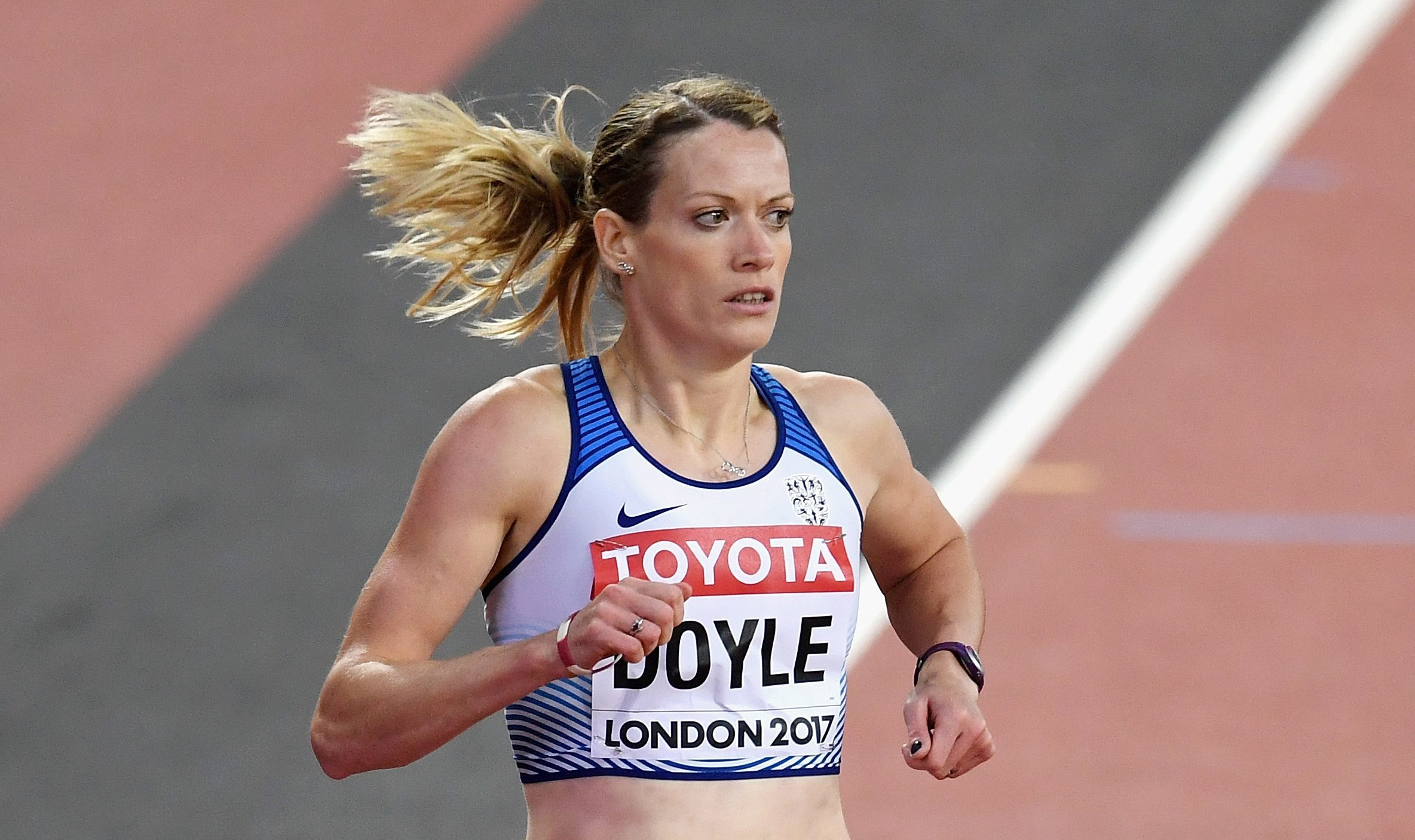 Eilidh Doyle of Great Britain competes in the Women's 400 metres hurdles heats during day four of the 16th IAAF World Athletics Championships (David Ramos/Getty Images)