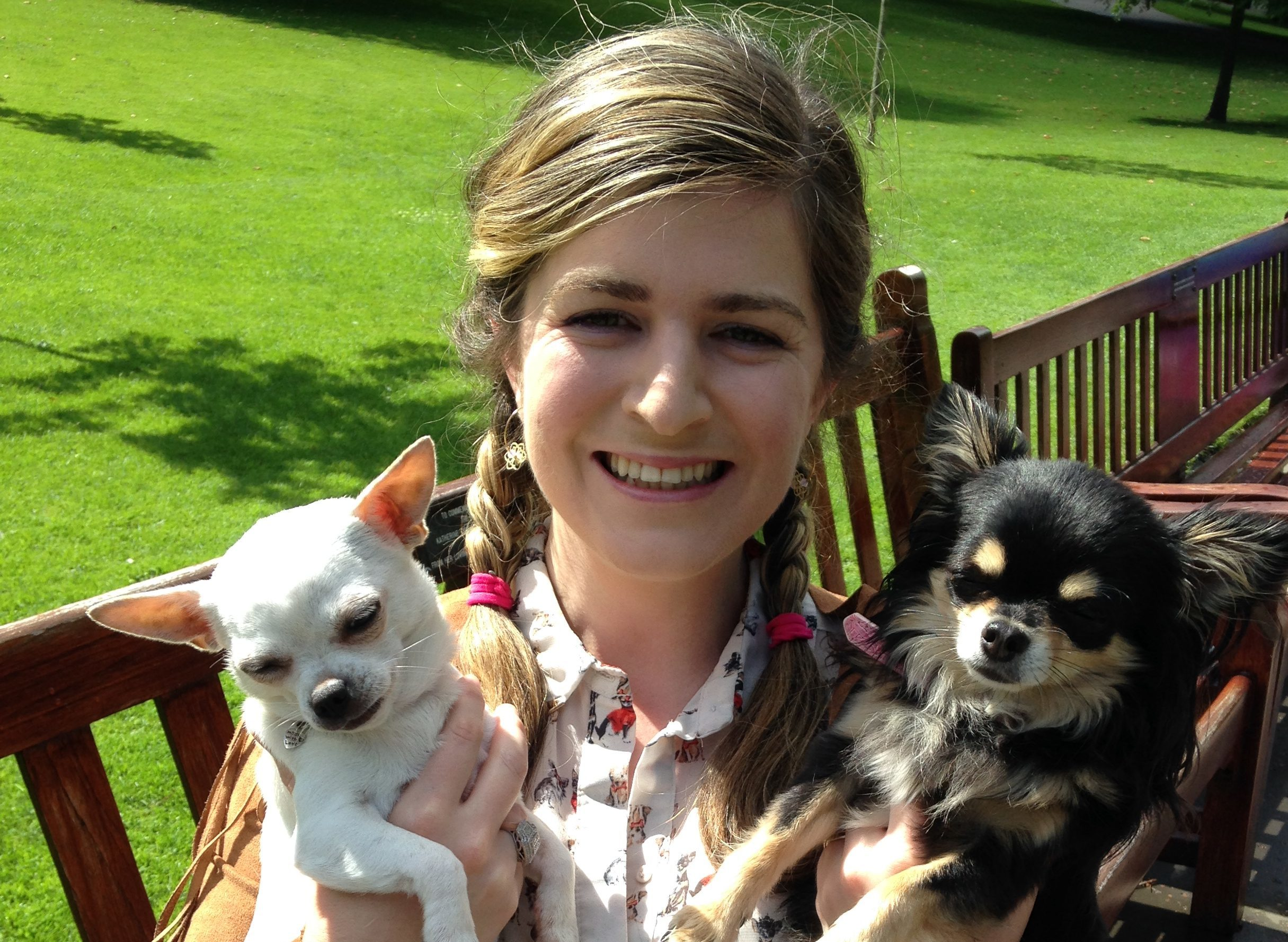 Tanya with chihuahuas Bee (left) and Ama