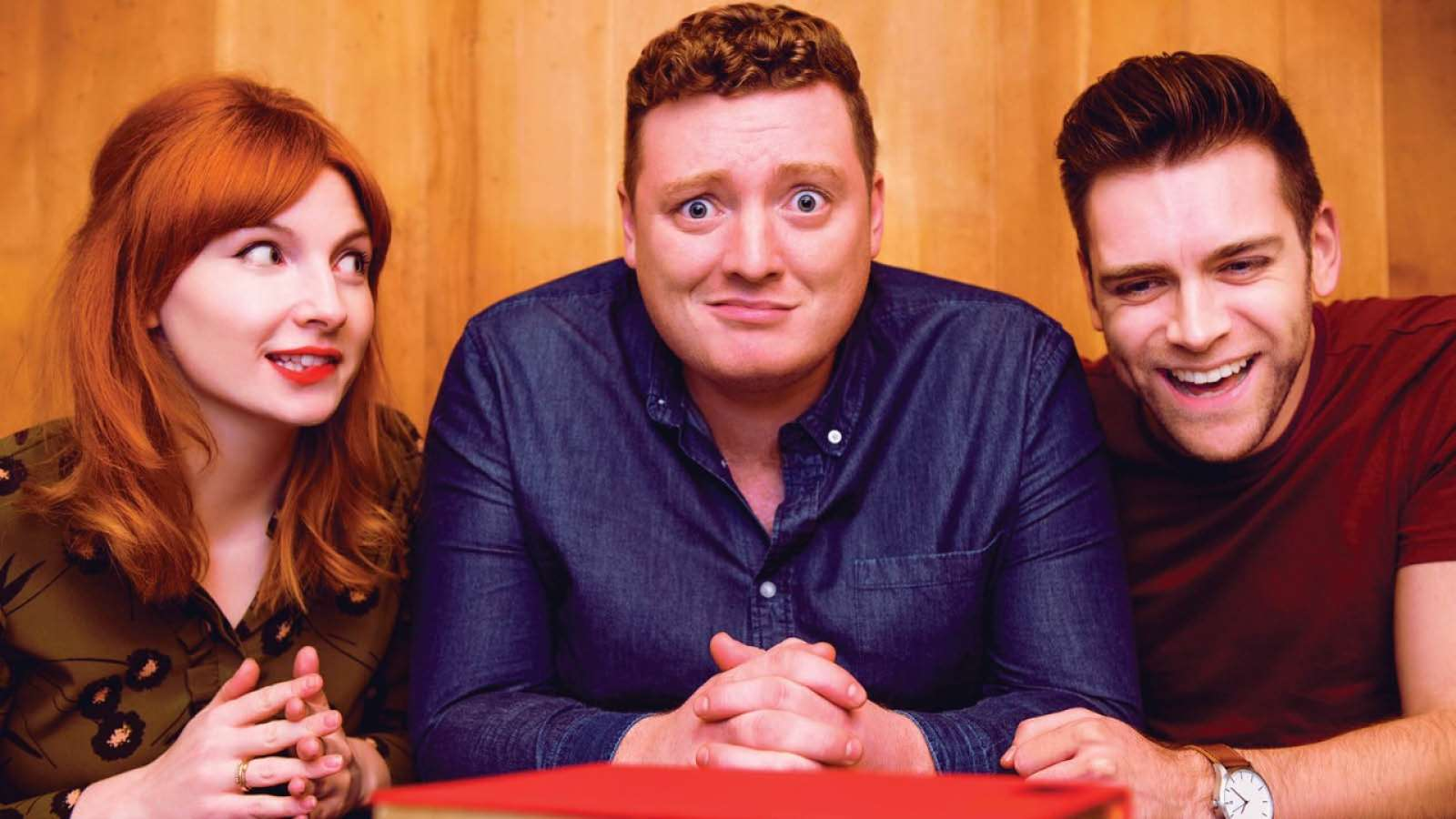The podcast crew (L-R) Alice Levine, Jamie Morton and James Cooper