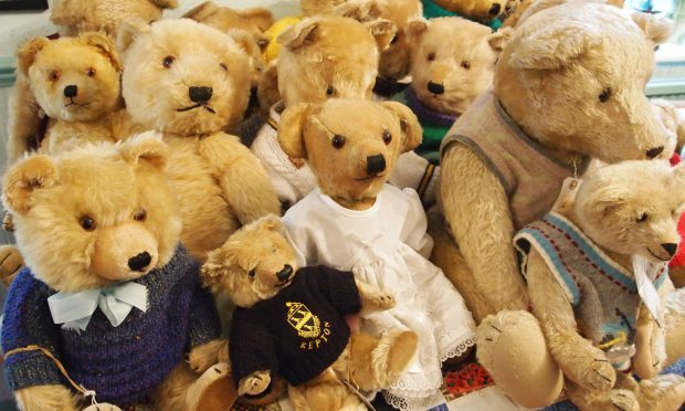 Some of the 35 bears owned by Jill Barker which she has collected over nearly half a century and are going under the hammer. (Hansons Auctioneers/PA Wire)