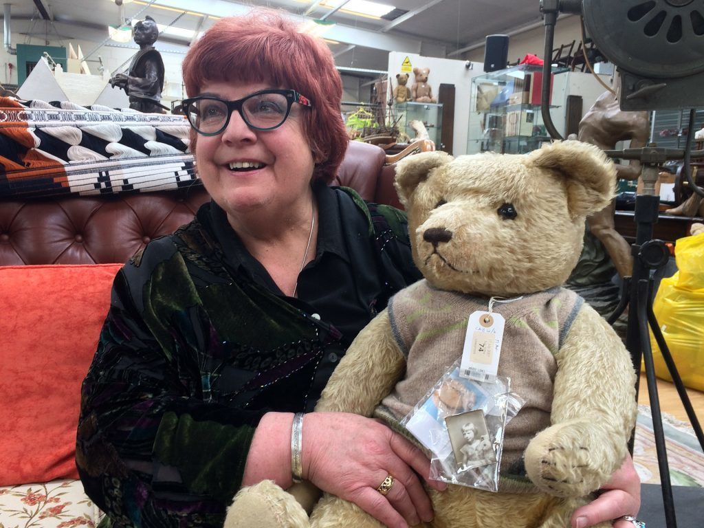 Jill Barker with one of her 35 bears (Hansons Auctioneers/PA Wire)