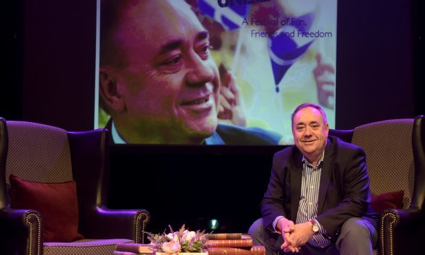 Former First Minister Alex Salmond during a photocall on stage at the Assembly Rooms in Edinburgh ahead of his 2017 Festival Fringe show Alex Salmond Unleashed. (Lesley Martin/PA Wire)