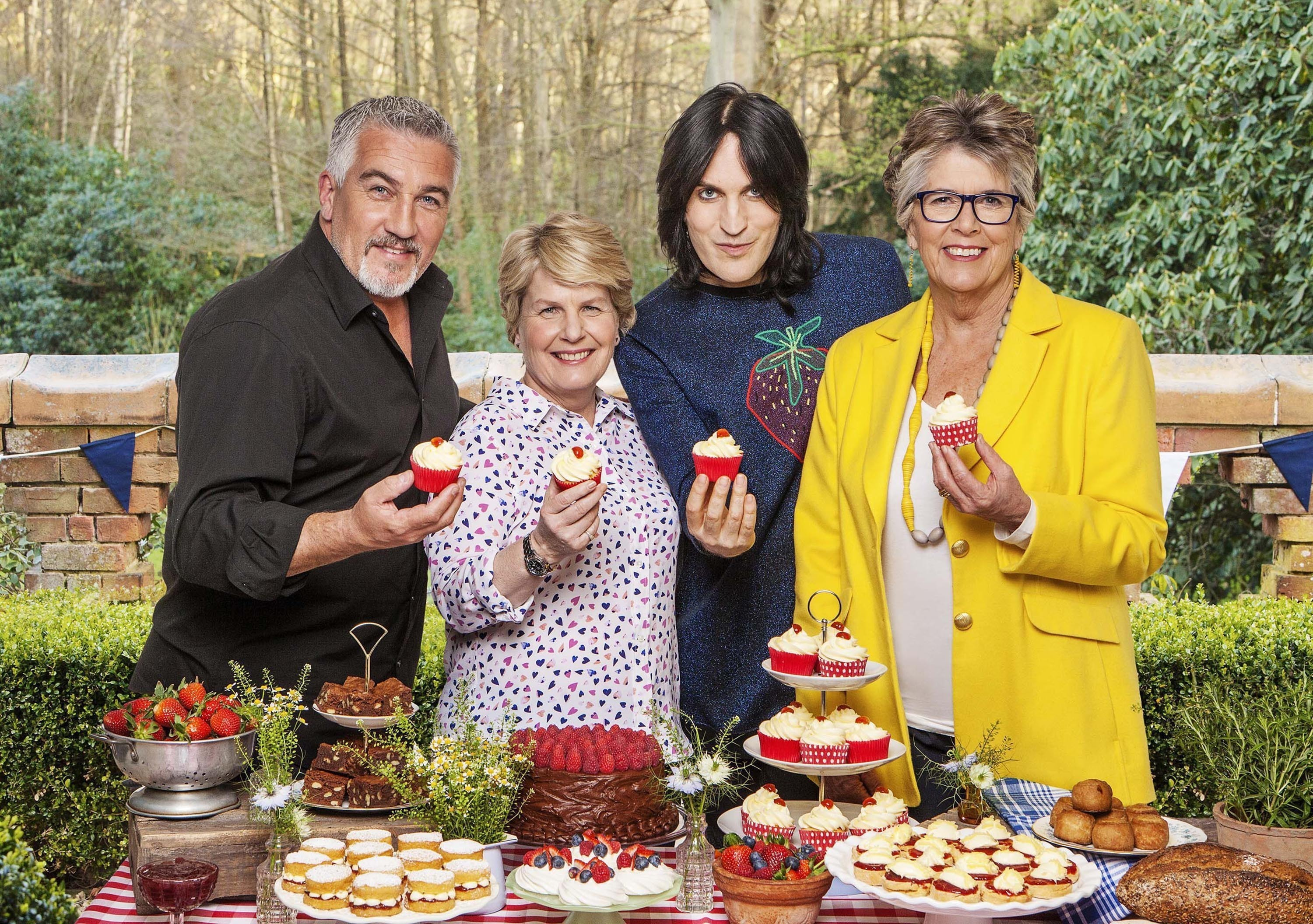 The judges and presenters for The Great British Bake Off (left to right) Paul Hollywood, Sandi Toksvig, Noel Fielding and Prue Leith ( Love Productions/Channel 4/Mark Bourdillon/PA Wire)