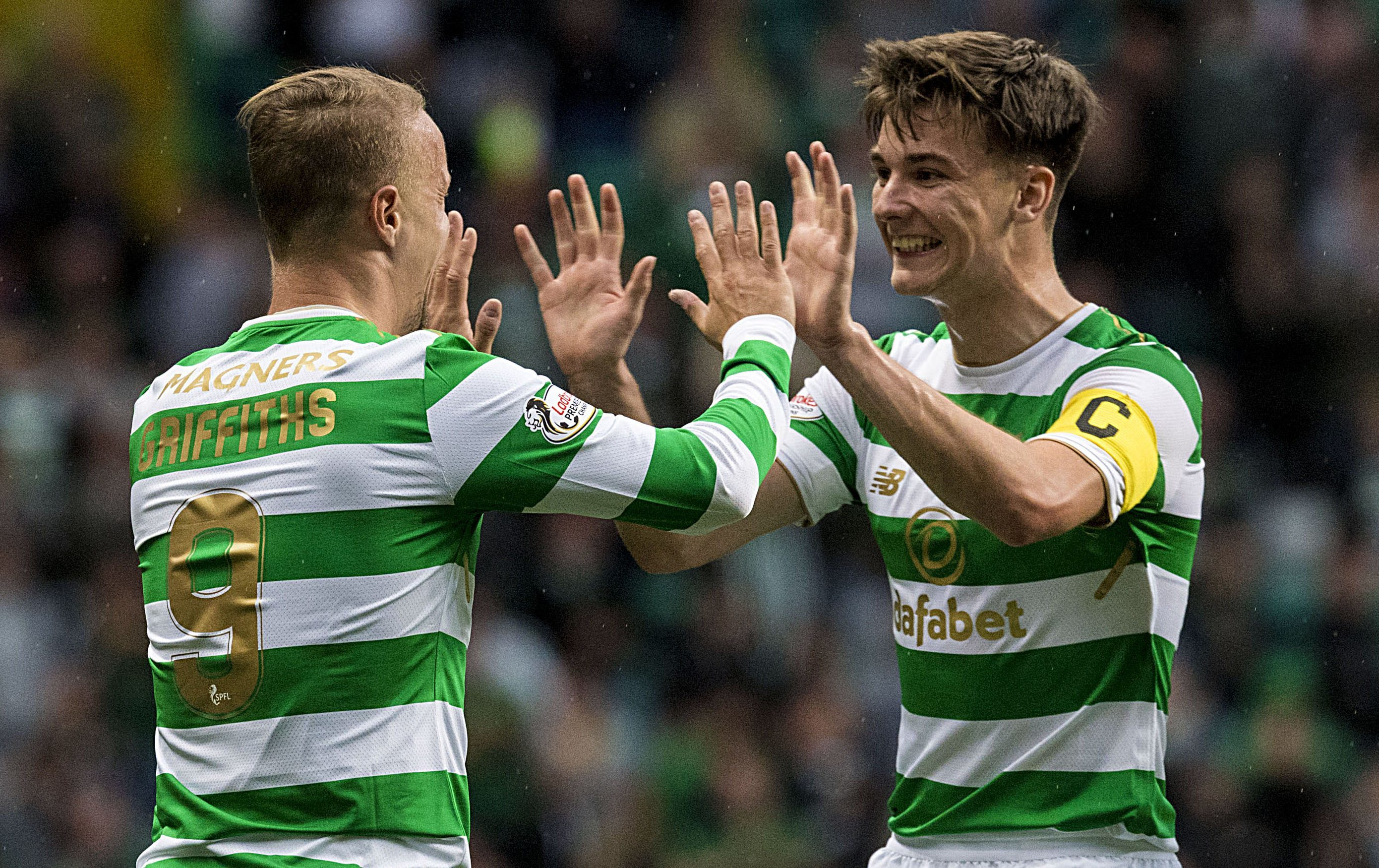 Celtic's Leigh Griffiths (left) and Kieran Tierney celebrate the Hoops' second goal (SNS Group / Alan Harvey)