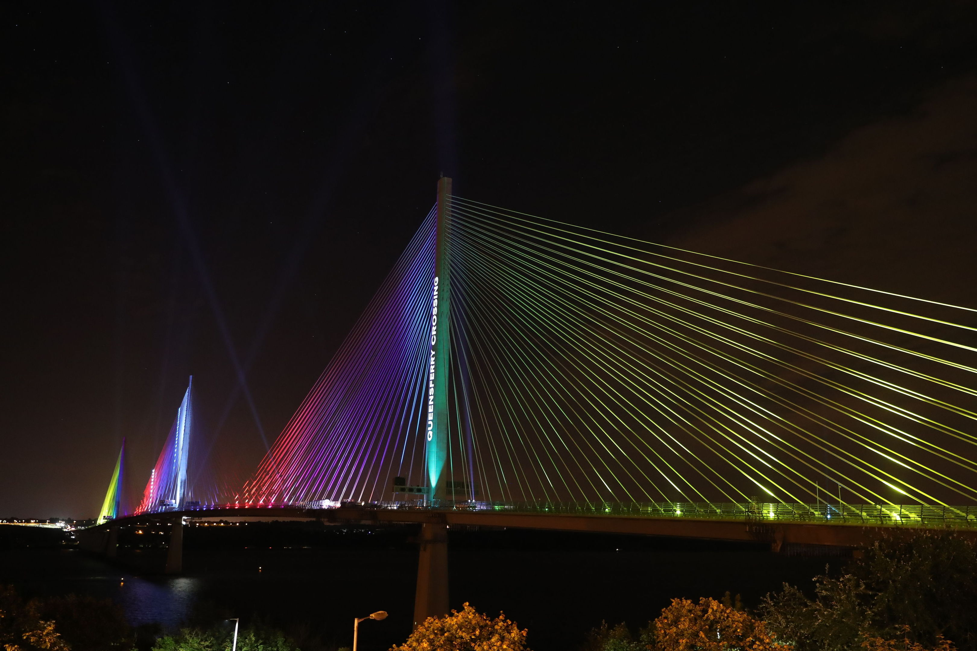 A view of the new Queensferry Crossing seen from North Queensferry, Scotland, as it is lit up during a ceremonial handover from the contractors to the Scottish Government ahead of it's official opening next month by Queen Elizabeth II on September 4. (Andrew Milligan/PA Wire)