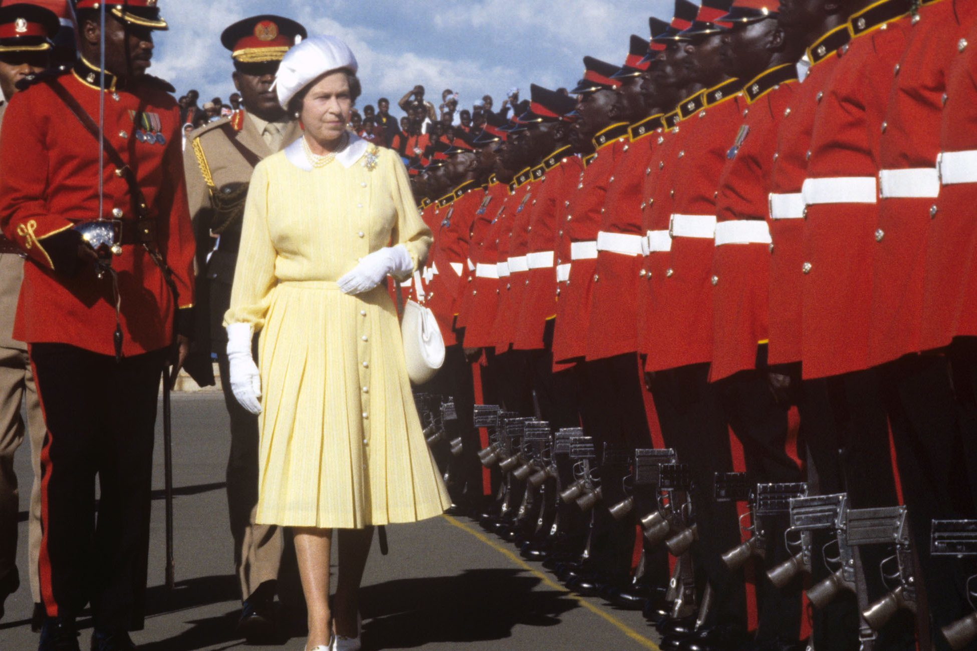 Queen Elizabeth II inspecting a Guard of Honour in 1983, when the speech was originally written (Ron Bell/PA Wire)