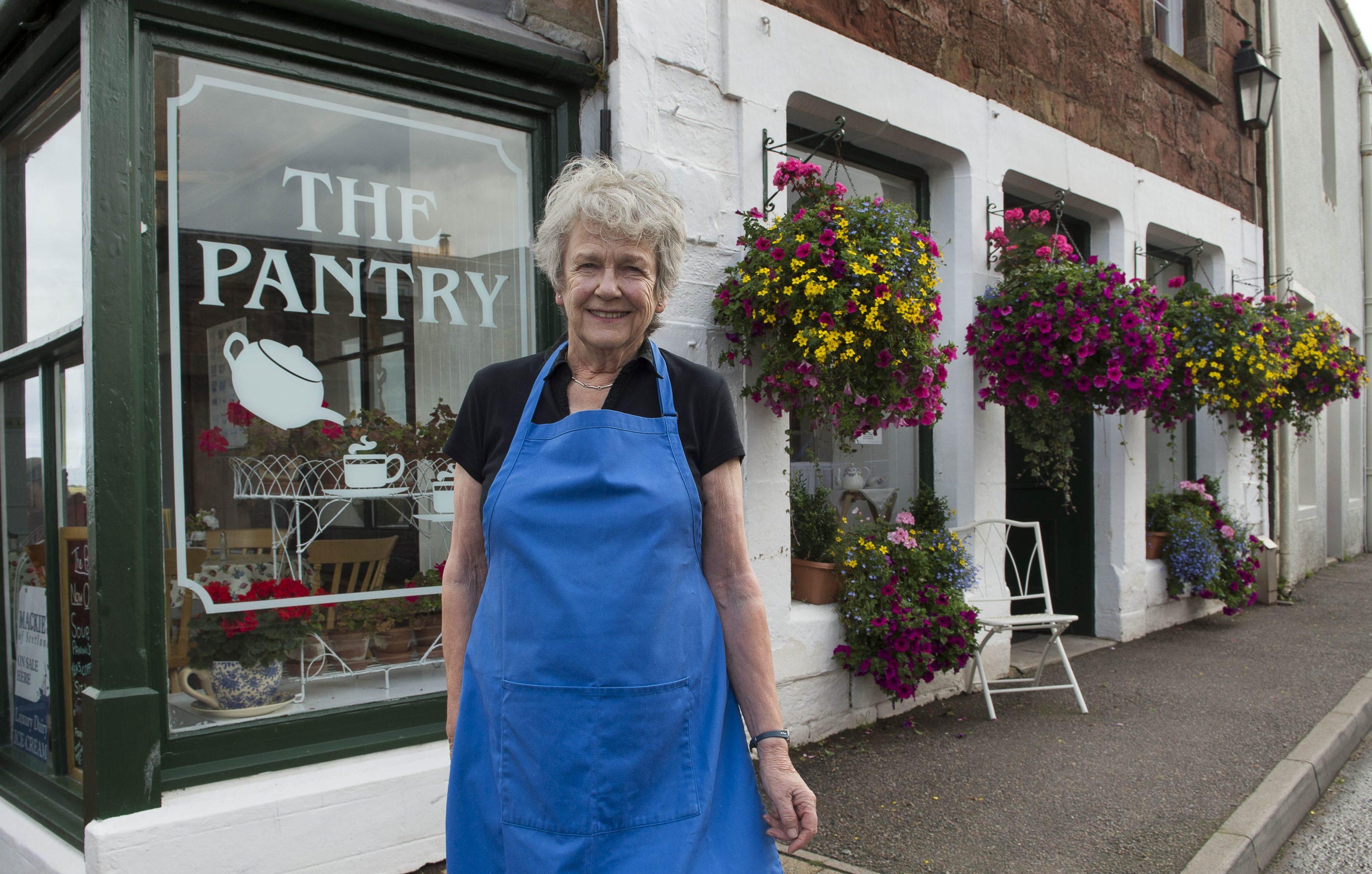 Jean Henderson outside her Pantry Tearoom in Cromarty (Trevor Martin Photography)