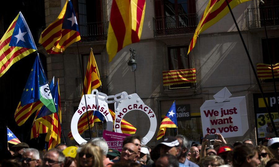 Catalan Independence Supporters Gather in Barcelona in Support of Mayors