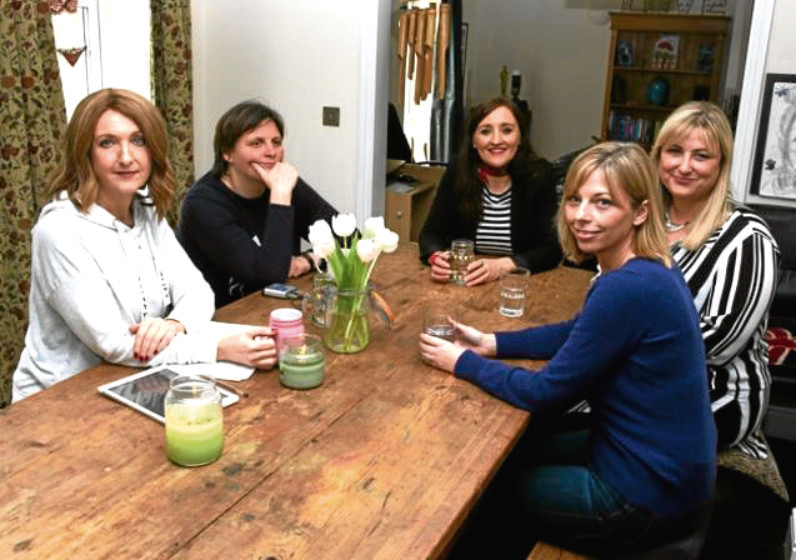 The BBC's Victoria Derbyshire, on left, interviews mesh implant campaigners for her show in April