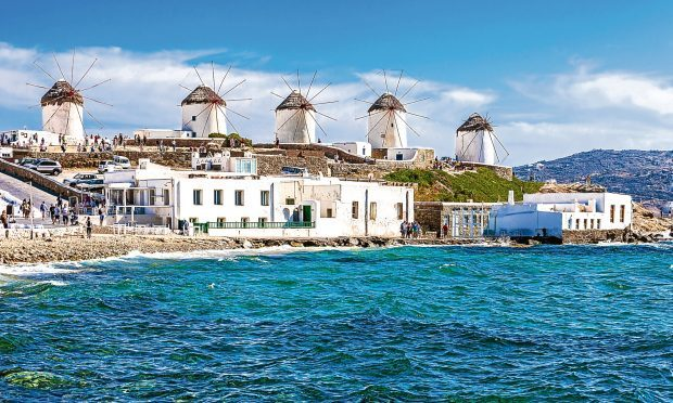 Two of the famous windmills in Mykonos, Greece (iStock)