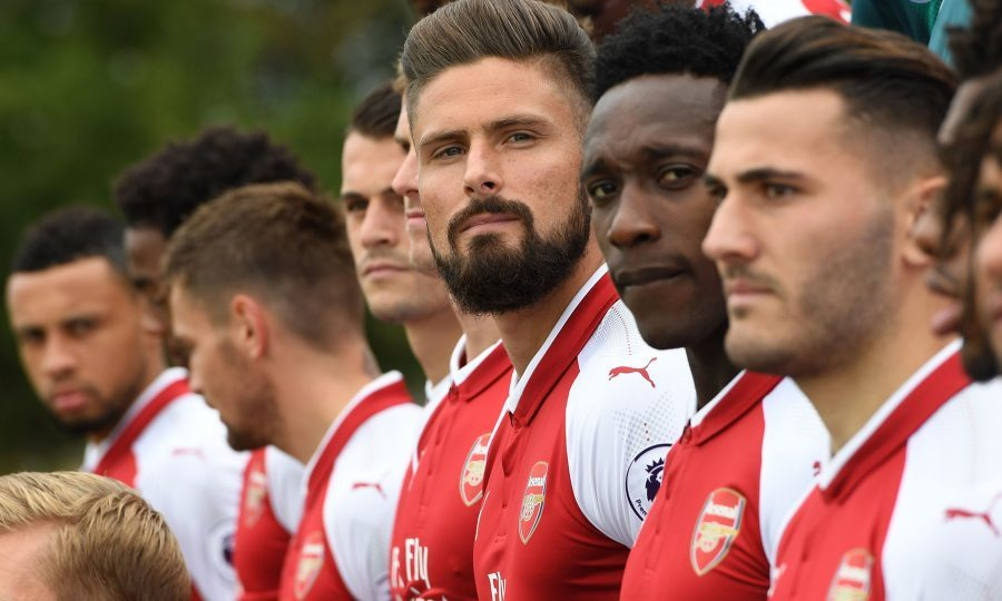 Olivier Giroud of Arsenal during the team photo (David Price/Arsenal FC via Getty Images)
