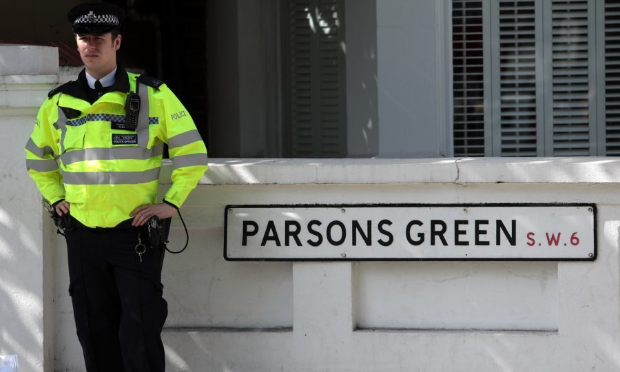 A police officer stands next to a street sign near Parsons Green Underground Station on September 15, 2017 in London, England. (Jack Taylor/Getty Images)