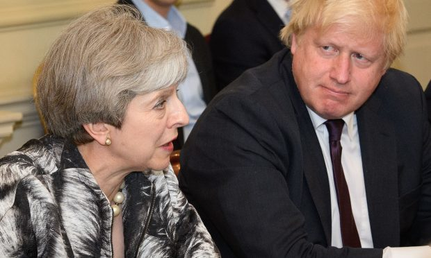 Theresa May with Boris Johnson (Leon Neal/PA Wire)