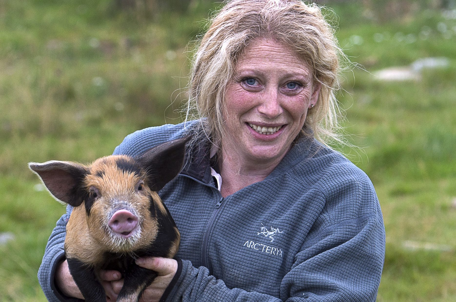 Michelle on her Pig Farm at Achvraid near Inverness (Trevor Martin)