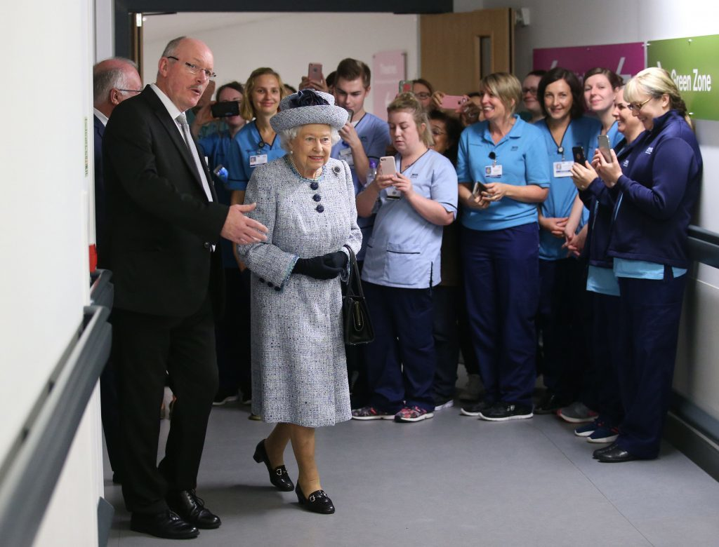 Queen Elizabeth II with NHS Grampian Reverend James Falconer, Healthcare Chaplain and project lead for the Robertson Family Roof Garden, during a visit to Aberdeen Royal Infirmary to open the roof garden (Andrew Milligan/PA Wire)