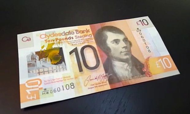 A view of the Clydesdale Bank Scottish £10 polymer note (Owen Clachers/PA Wire)