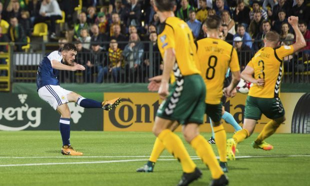 Scotland's Andy Robertson makes it 2-0 against Lithuania (SNS Group)