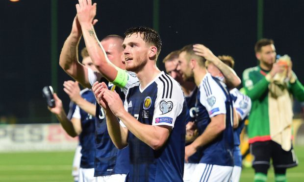 Scotland's Andy Robertson applauds the fans at full time (SNS Group)