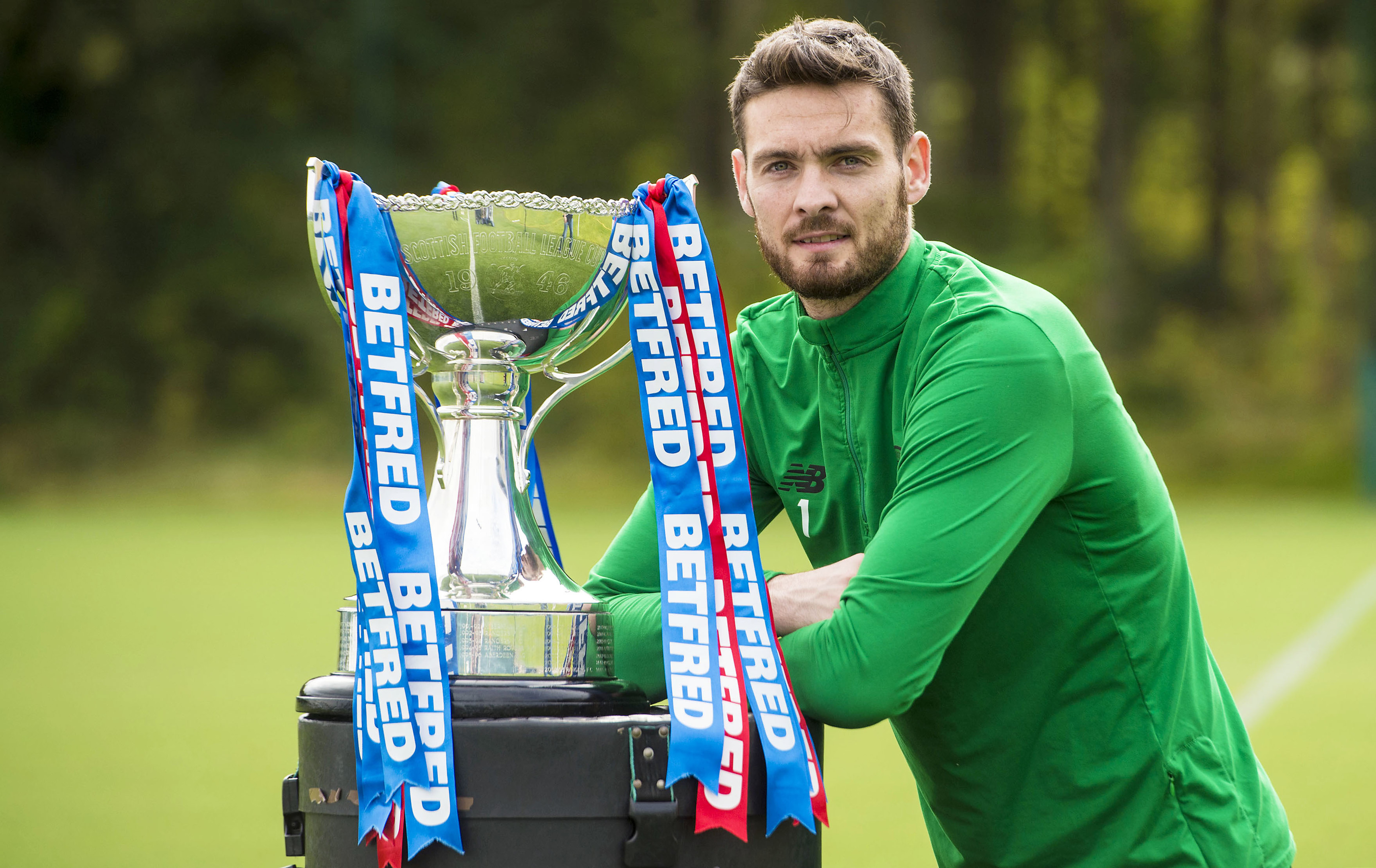 Celtic's Craig Gordon with the Betfred trophy (SNS Group)