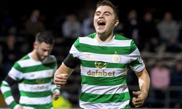 Celtic's James Forrest celebrates his goal against Dundee (SNS Group / Craig Williamson)