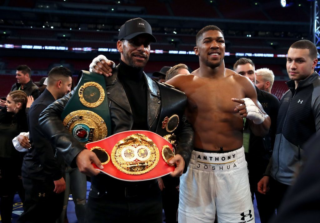 Anthony Joshua post fight with Rio Ferdinand. (Nick Potts/PA Wire)